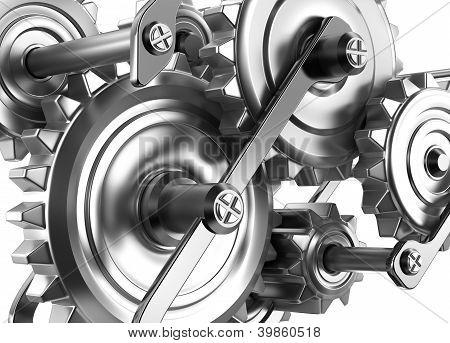 Engrenagens e rodas dentadas trabalhando juntos. Mecanismo de confiança