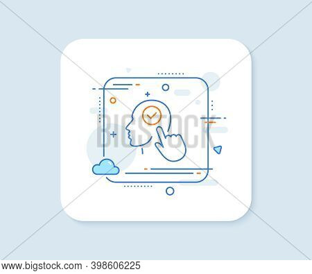 Head Line Icon. Abstract Square Vector Button. Select User Sign. Checkbox Symbol. Select User Line I