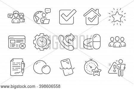 Reject Web, Medical Drugs And Time Management Line Icons Set. Checkbox, Smartphone Waterproof And Vi