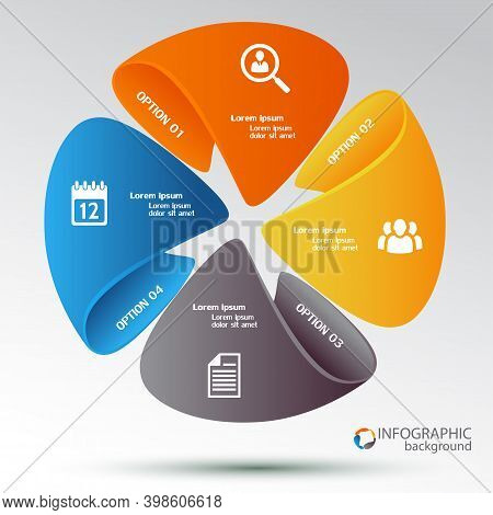 Vector Circle Element With Long Shadow For Infographic. Template For Cycling Diagram, Graph, Present