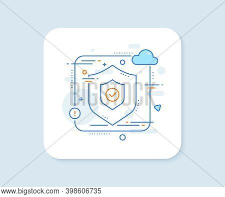 Security Shield Line Icon. Abstract Vector Button. Cyber Defence Sign. Private Protection Symbol. Se