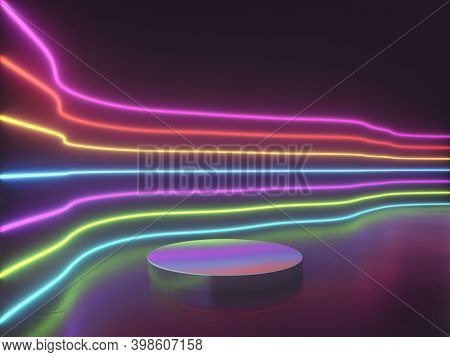 Bright neon lines with podium for product, 3D illustration, rendering.