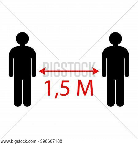 Social Distance: The Arrow Shows The Distance Between People 1.5 Meters. Vector Illustration. Vector