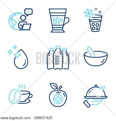 Food And Drink Icons Set. Included Icon As Ice Maker, Water Drop, Cooking Mix Signs. Medical Food, F