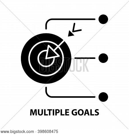 Multiple Goals Icon, Black Vector Sign With Editable Strokes, Concept Illustration