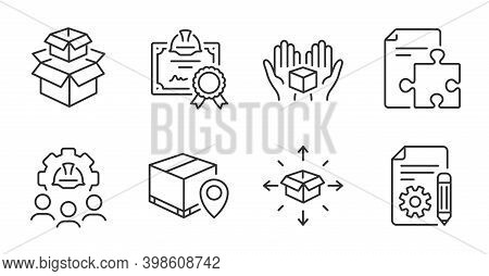 Documentation, Parcel Delivery And Packing Boxes Line Icons Set. Certificate, Engineering Team And P