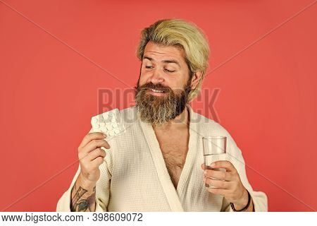 Man Thirsty In Morning. Hipster Drink Water Take Medicines. Hangover Concept. Headache Hangover. Han