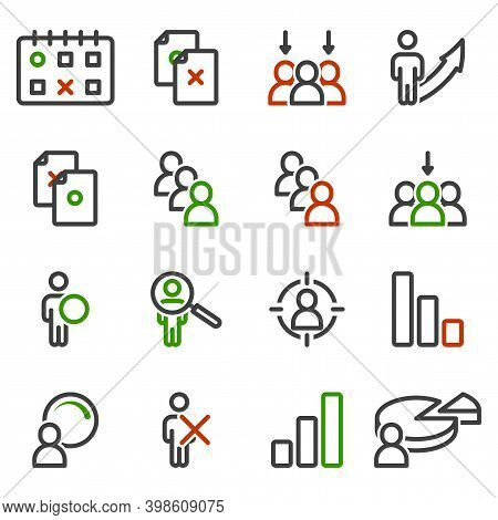 Selection Icons Set. Correct And Incorrect Choice Of Document, Date, Person, As Well As Recognition