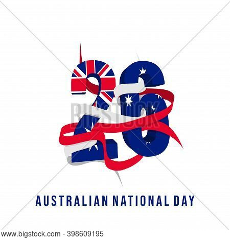 Typography Number Of 26 For 26 January When Celebrate Of Australia Day Design.