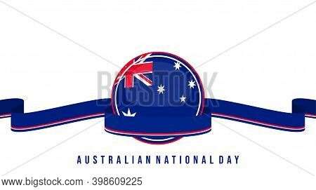 Australian National Day Design With Australian Flag Emblem And Blue Ribbon Vector Illustration. Good