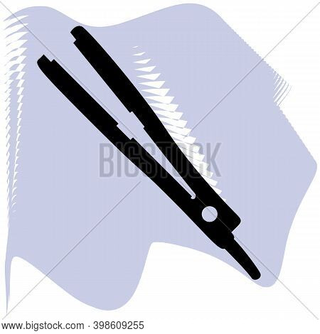 Hair Straightener Vector, Barber, Salon, Hair, Black Straightener On Lilac Spot Icon Of A Set, Isola