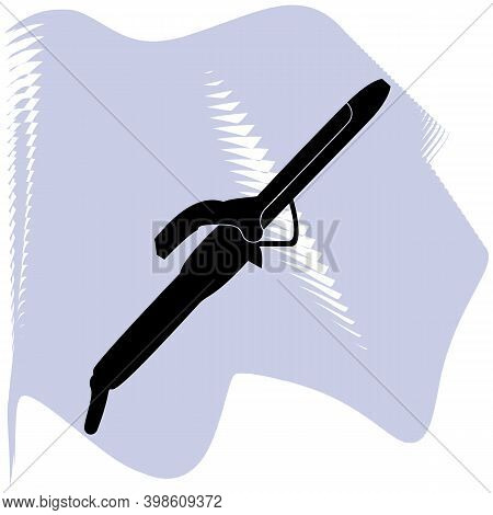 Curling Iron Vector, Barber, Salon, Hair, Black Curling Iron On Lilac Spot Icon Of A Set, Isolated O