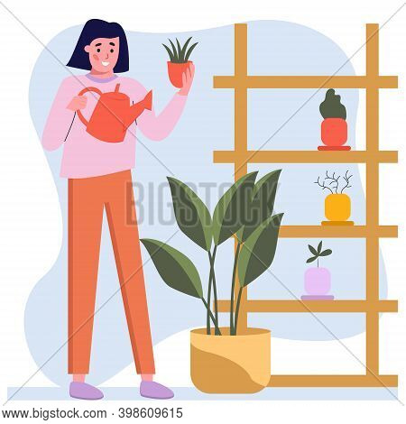 Young Girl At Home Watering Houseplants, Gardening Hobby, Breeding Flowers At Home, Hobby. Vector Fl