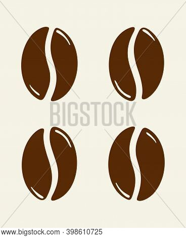 Group Of Roasted Coffee Beans, Caffeine Symbol. Hand Drawn Graphic Vector Illustration Isolated On B