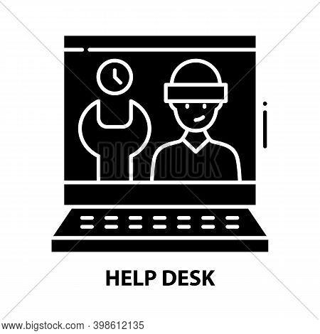 Help Desk Icon, Black Vector Sign With Editable Strokes, Concept Illustration