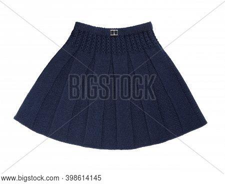 Skirt Isolated On White Background. Knitted Skirt. Blue Children Skirt. Children's Warm Skirt