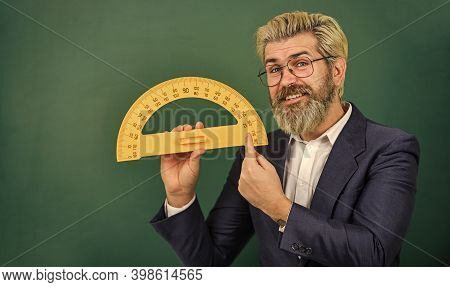 Bearded Tutor At Chalkboard. Teaching About Angles. Mathematics For Better Future. Personal Lesson.