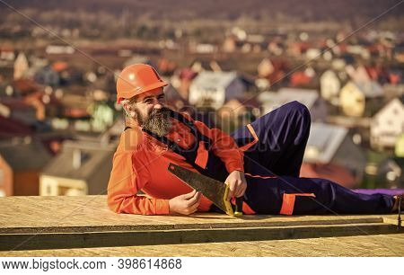 General Construction Experience. Carpentry Concept. Hard Labour On Sunny Day Outdoors. Bearded Const