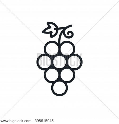 Grapes. Grape Icon. Vector Linear Icon, Contour, Shape, Outline Isolated On A White Background. Thin