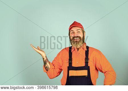 Man Skillful Worker. Electrician Plumber Handyman. Call Master. Laborer. Repairman Experienced Worke