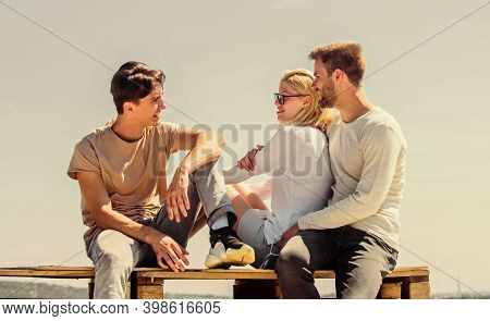 Romantic Mood. Group Of People In Casual Wear. Group Of Four People. Great Fit For Day Off. Diverse