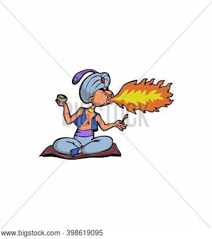 Fakir Cartoon Character Releases Fire From His Mouth Illustration