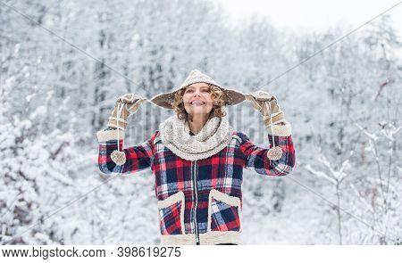 Winter Holidays. Winter Holiday And Vacation. Best Place To Feel Freedom. Woman Enjoy Landscape. Gir