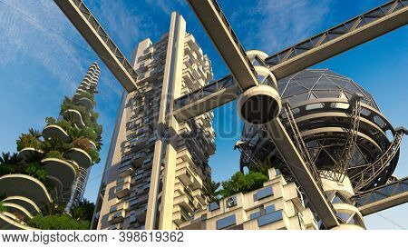 3d Illustration A Futuristic Green City With Building Terraces Covered In Vegetation, High Rise Stru