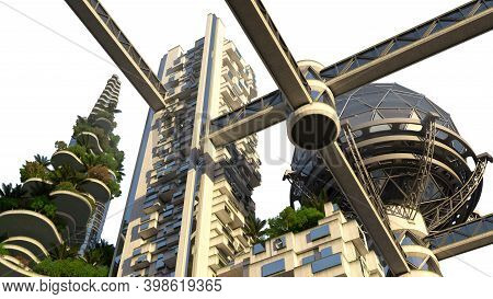 3d Rendered Futuristic Green City Skyline Architecture With Vegetation On Terraces And High Rise Bui