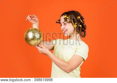 Hairstyle For Disco Party. Have Fun. Retro Party. Child Hold Golden Disco Ball. Cheerful Girl With D
