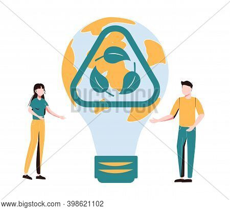 Sustainability In Alternative Resource Electricity Supply Tiny Person Concept. Power Production Usin
