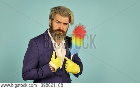 Businessman Use Pp Duster. Hipster Holding Cleaning Tool. Cleaning And Home Concept. Man Sweeping Wi