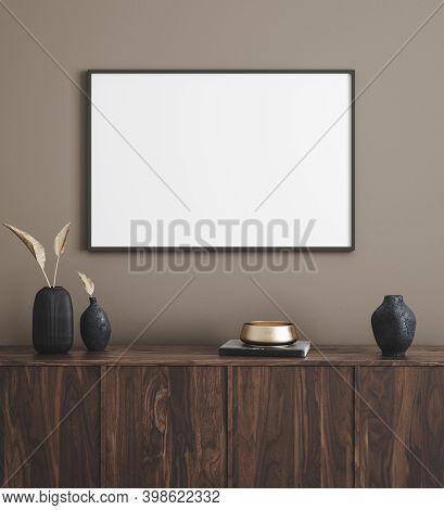 Mockup Poster Frame In Modern Interior Background, 3d Illustration