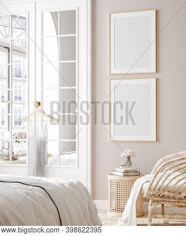 Mockup Poster In Luxury Feminine Bedroom, 3d Illustration