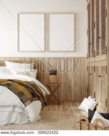 Mock Up Frame In Country Style Bedroom Interior, 3d Illustration