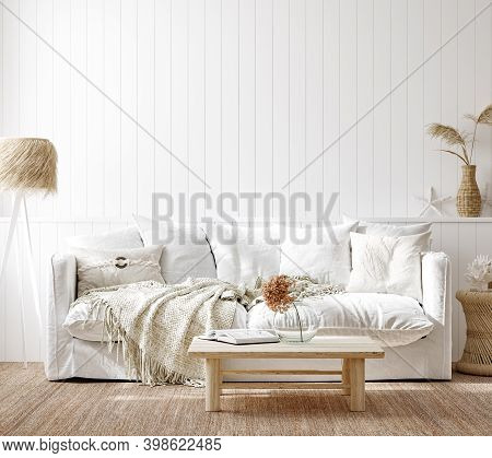 Cozy Home Interior Background, Coastal Style Living Room, 3d Illustration