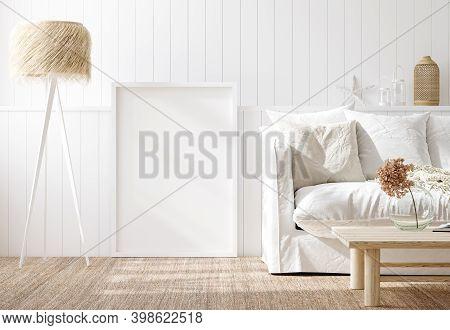 Mock Up Frame In Cozy Home Interior Background, Coastal Style Living Room, 3d Illustration