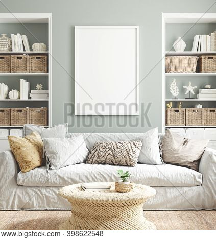 Mockup Poster Frame In Cozy Home Interior Background, 3d Illustration
