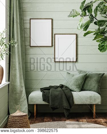 Frame Mockup In Farmhouse Living Room With Couch, 3d Illustration