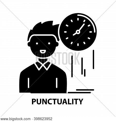 Punctuality Icon, Black Vector Sign With Editable Strokes, Concept Illustration