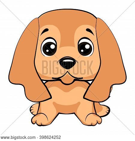 Vector Close-up Portrait Of A Cute Sporting Dog Breed American Cocker Spaniel Smiling