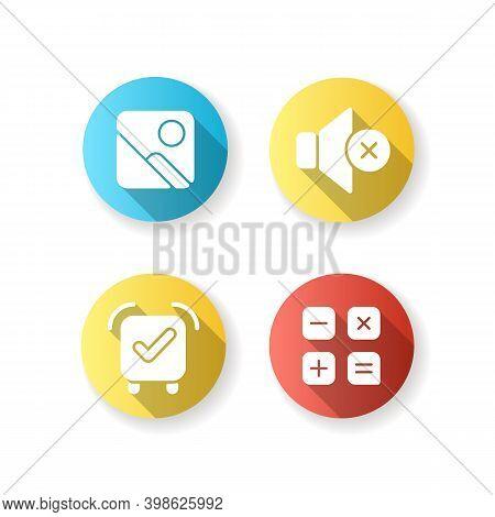 Smartphone Interface Flat Design Long Shadow Glyph Icons Set. Photo Gallery. Silent Mode. Alarm Cloc