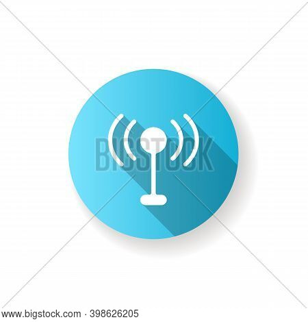 Mobile Networks App Blue Flat Design Long Shadow Glyph Icon. Antennas. Cell Towers. Wireless Interne
