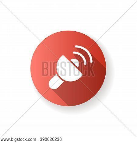 Lantern App Red Flat Design Long Shadow Glyph Icon. White Screen With Maximum Brightness. Light Sour