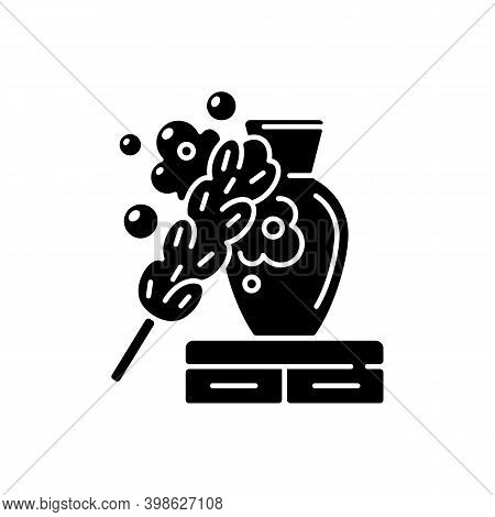Dusting Black Glyph Icon. Household Chore, Housekeeping Silhouette Symbol On White Space. House Clea