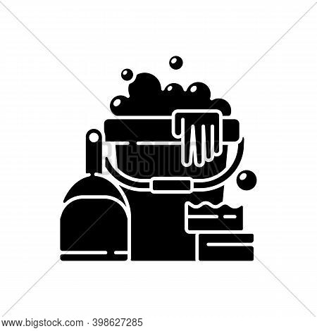 Cleaning Tools Black Glyph Icon. Cleaner Tools, Housekeeping Supplies Silhouette Symbol On White Spa