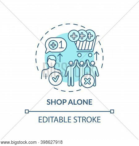 Shopping Alone Concept Icon. Financial Advantage Idea Thin Line Illustration. Avoiding Purchases Com
