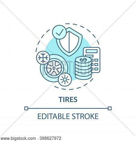 Tires Concept Icon. Spending More For High Quality Product Idea Thin Line Illustration. Tire-buying