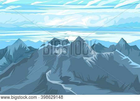 Mountain Range With Cliffs, Rocks And Peaks. Sky With Clouds. Landscape. Illustration Vector