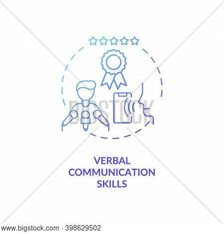 Verbal Communication Skills Blue Gradient Concept Icon. Business Networking. Leader Eloquence. Virtu